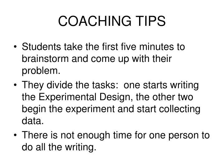 COACHING TIPS