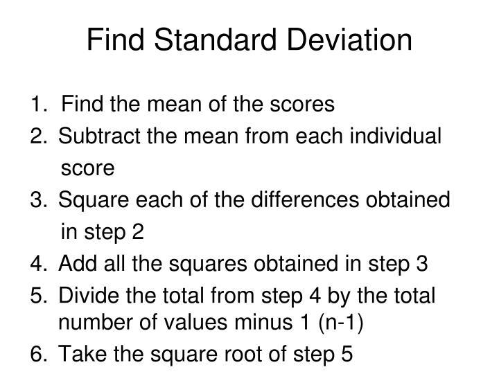 Find Standard Deviation