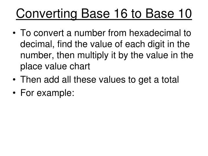 Ppt Binary Hexadecimal And Base 10 Powerpoint Presentation Id