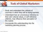 task of global marketers