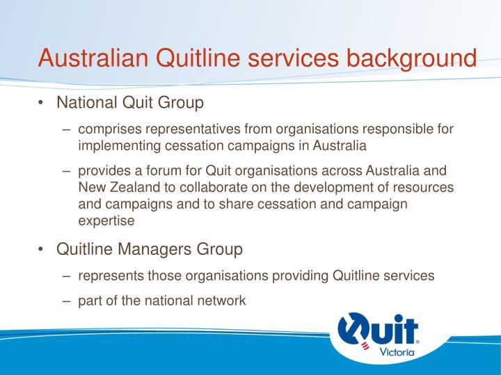 Australian Quitline services background