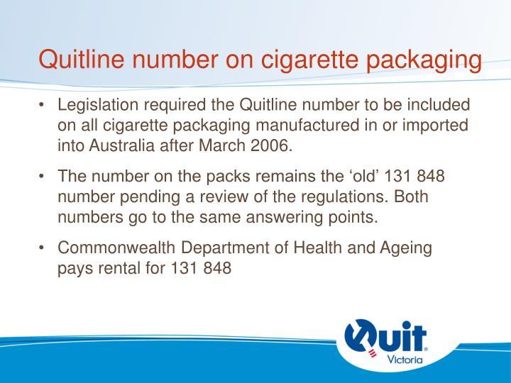 Quitline number on cigarette packaging