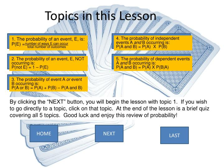 Topics in this lesson
