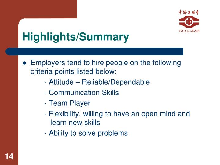 Highlights/Summary