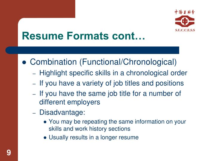 Resume Formats cont…