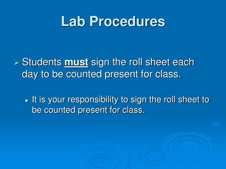 Lab procedures1