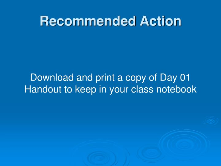 Recommended Action
