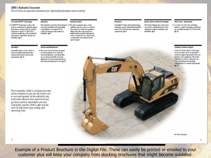 Example of a Product Brochure in the Digital File. These can easily be printed or emailed to your