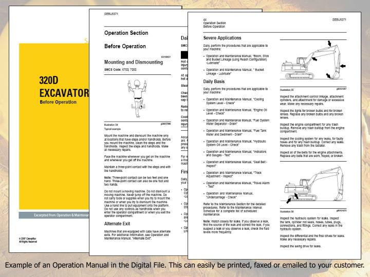 Example of an Operation Manual in the Digital File. This can easily be printed, faxed or emailed to your customer.