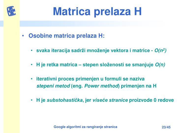 Matrica prelaza H