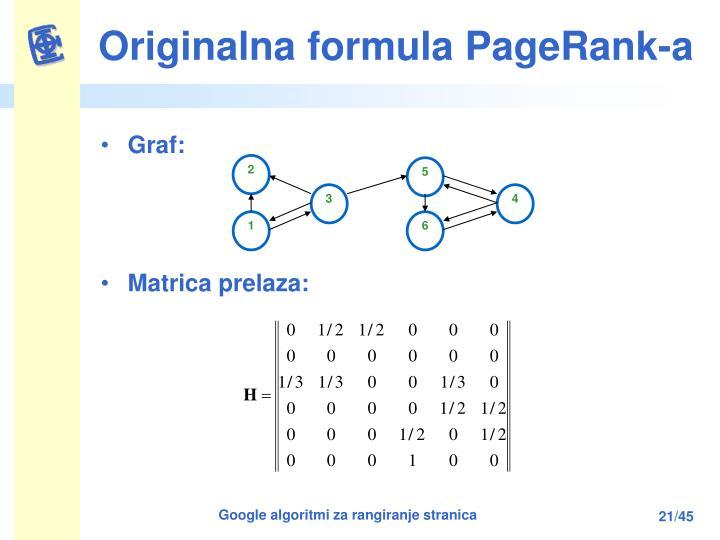 Originalna formula PageRank-a
