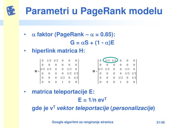 Parametri u PageRank modelu