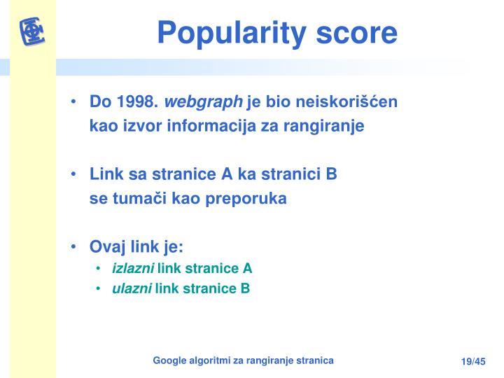 Popularity score