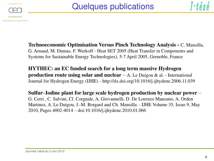 Quelques publications