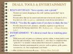 deals tools entertainment