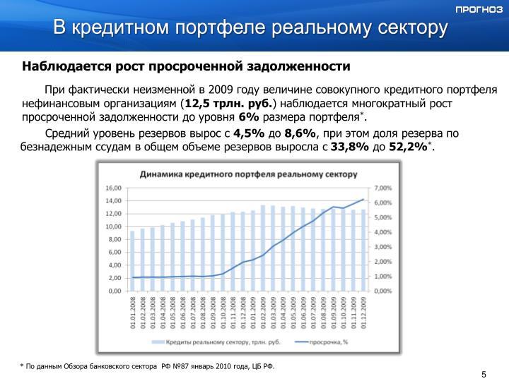 В кредитном портфеле реальному сектору