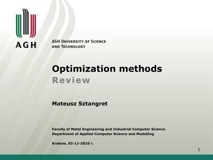 optimization methods review n.