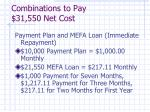 combinations to pay 31 550 net cost1
