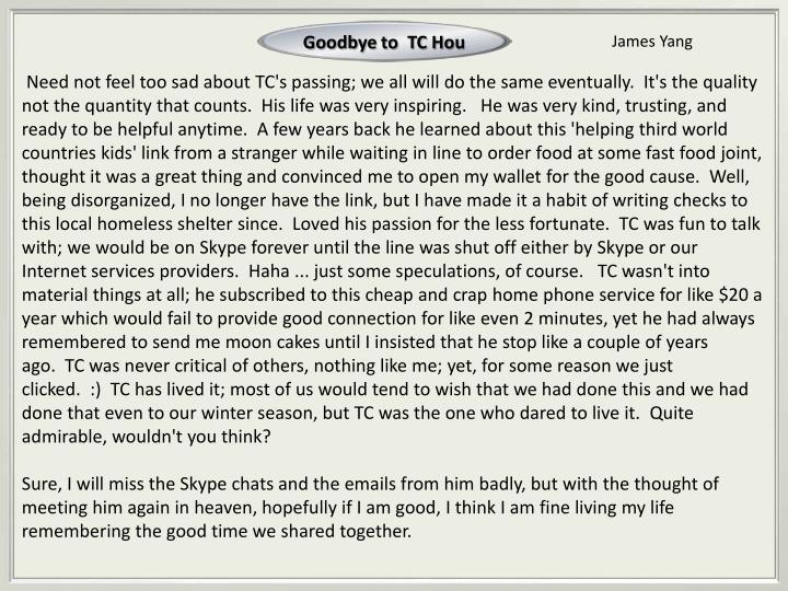 Goodbye to
