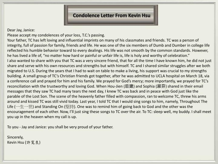 Condolence Letter From Kevin Hsu