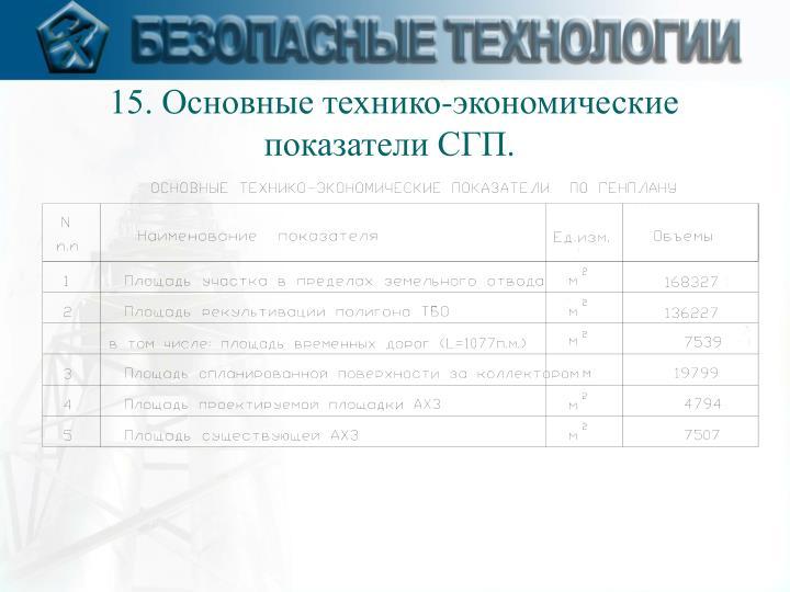 15. Основные технико-экономические показатели СГП.