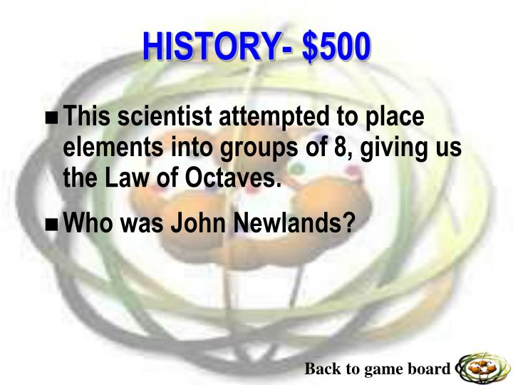 This scientist attempted to place elements into groups of 8, giving us the Law of Octaves.