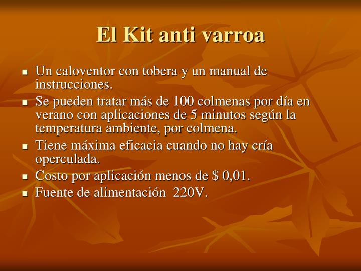 El Kit anti varroa