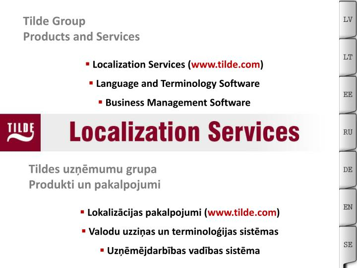 Tilde group products and services