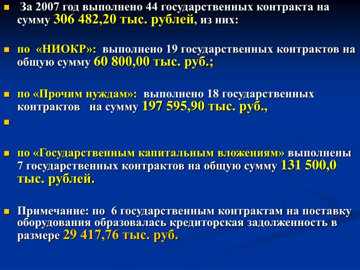За 2007 год выполнено 44 государственных контракта на сумму