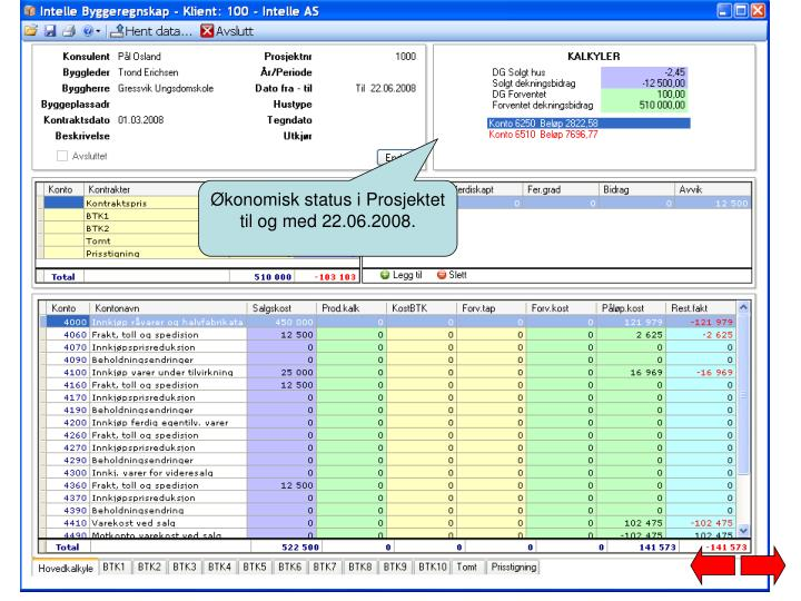 Økonomisk status i Prosjektet til og med 22.06.2008.