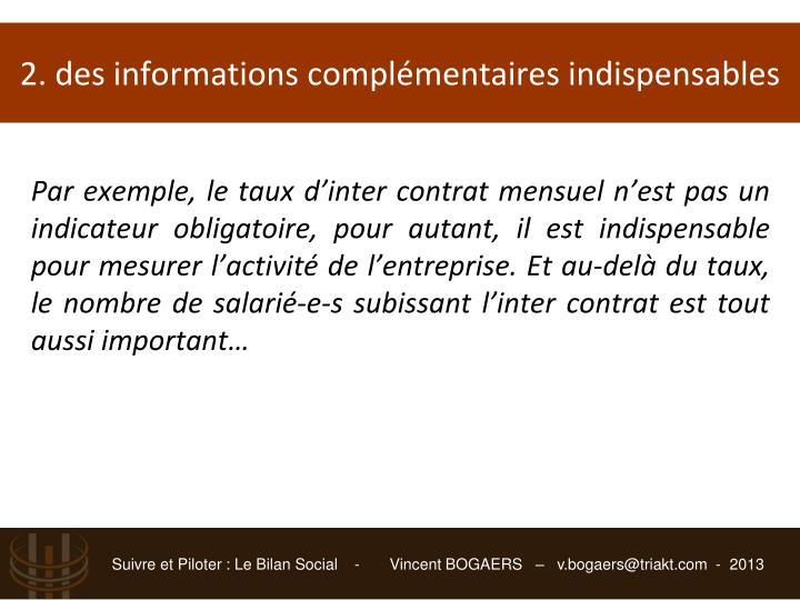 2. des informations complémentaires indispensables