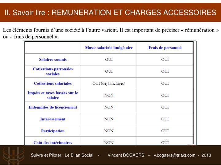 II. Savoir lire : REMUNERATION ET CHARGES ACCESSOIRES