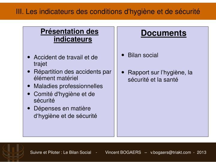 III. Les indicateurs des conditions d'hygiène et de sécurité