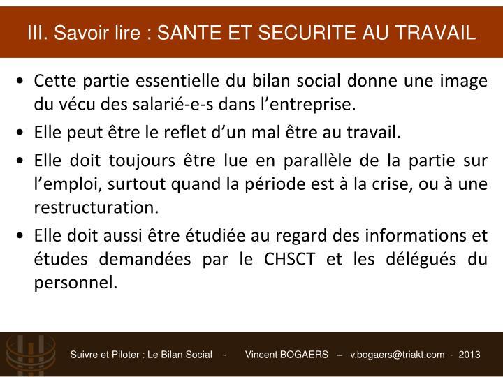III. Savoir lire : SANTE ET SECURITE AU TRAVAIL