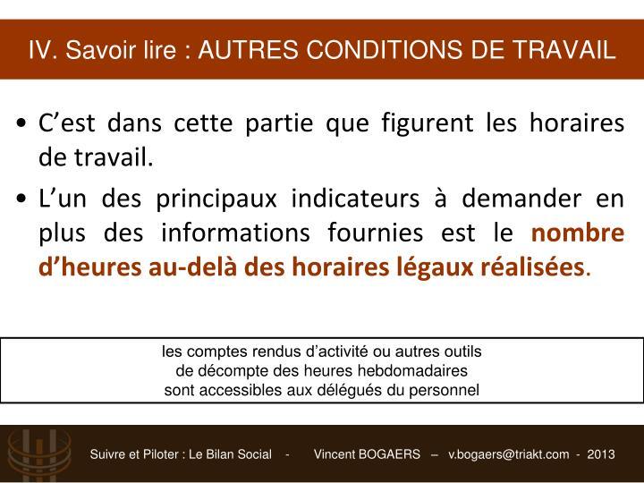 IV. Savoir lire : AUTRES CONDITIONS DE TRAVAIL