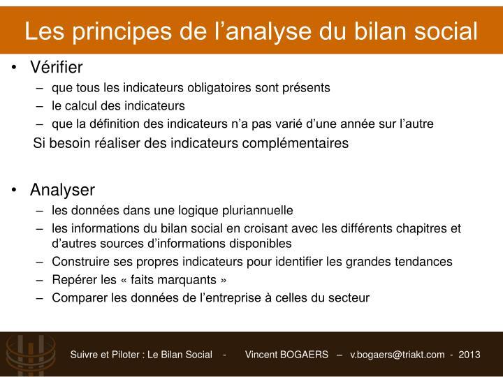Les principes de l'analyse du bilan social