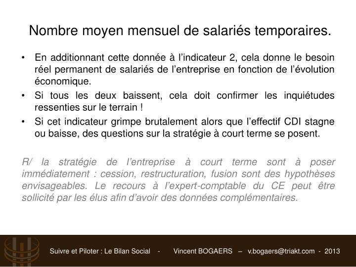 Nombre moyen mensuel de salariés temporaires.