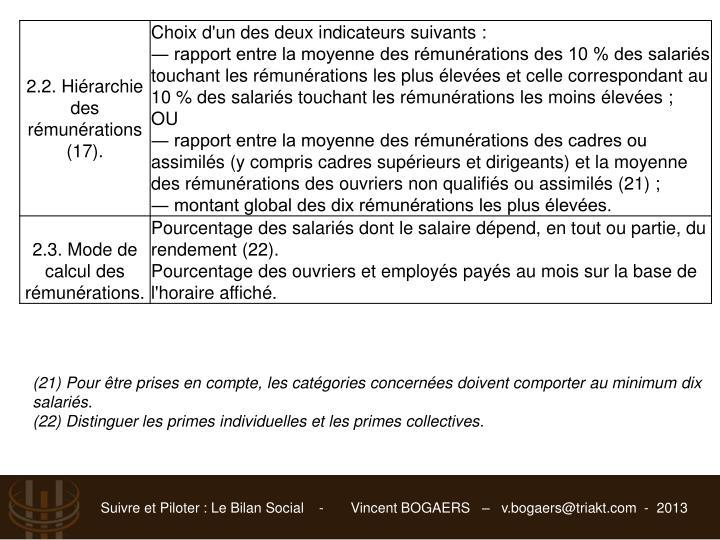 (21) Pour être prises en compte, les catégories concernées doivent comporter au minimum dix salariés.