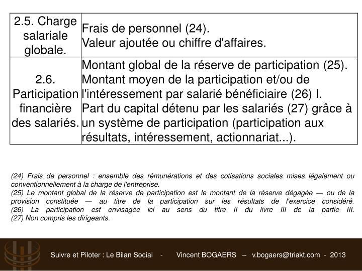 (24) Frais de personnel : ensemble des rémunérations et des cotisations sociales mises légalement ou conventionnellement à la charge de l'entreprise.