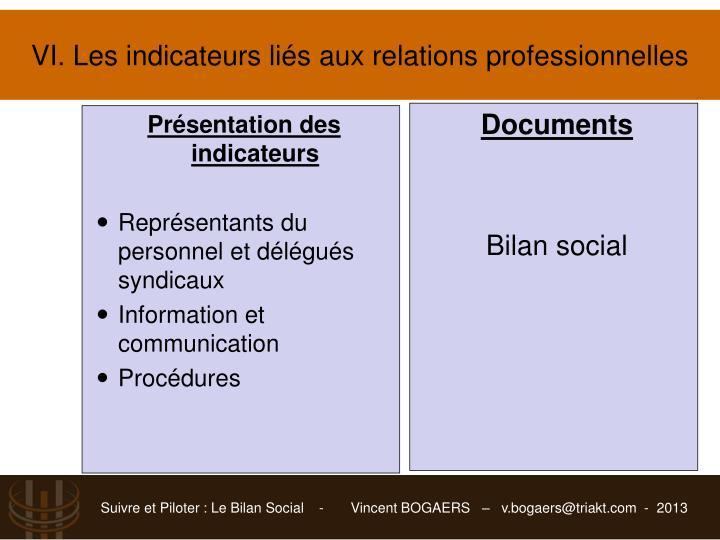 VI. Les indicateurs liésaux relations professionnelles