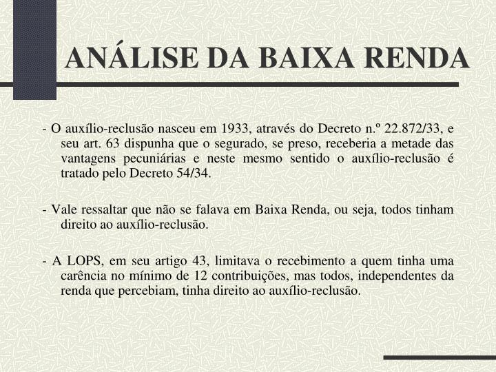 ANÁLISE DA BAIXA RENDA