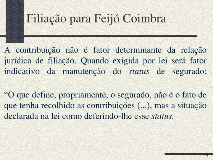 Filiação para Feijó Coimbra