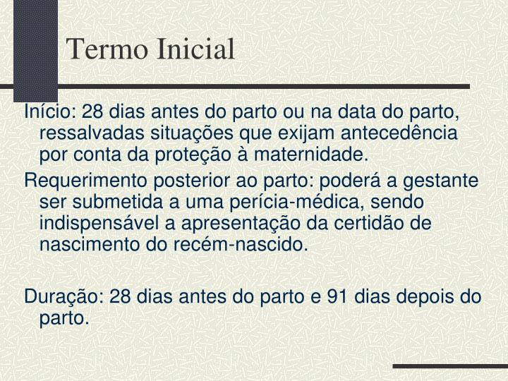 Termo Inicial