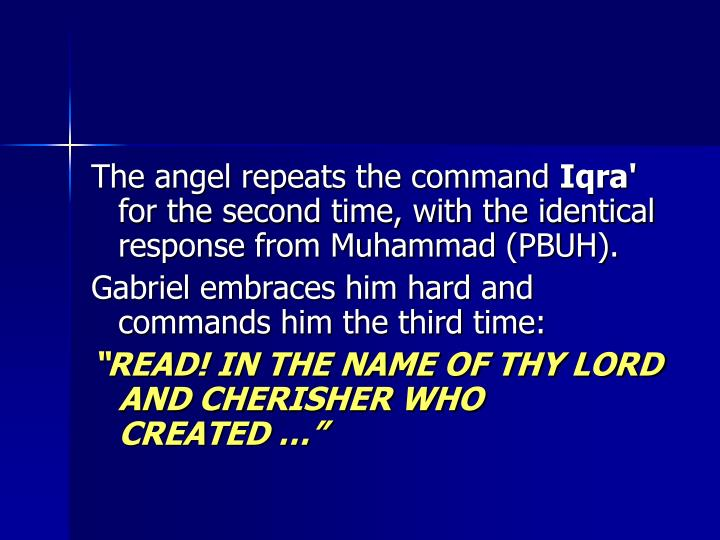 The angel repeats the command