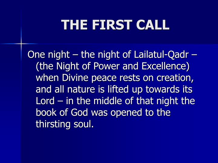 THE FIRST CALL