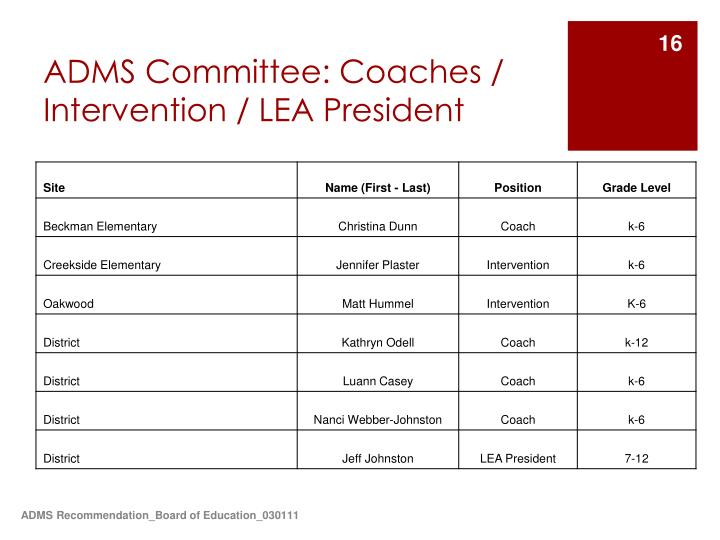 ADMS Committee: Coaches / Intervention / LEA President