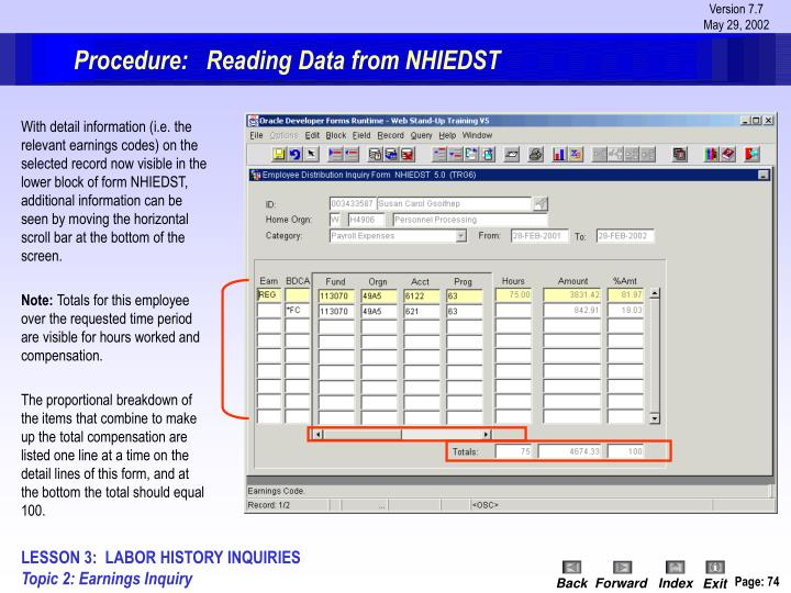 Procedure:   Reading Data from NHIEDST