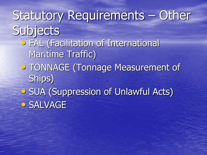 Statutory Requirements – Other Subjects