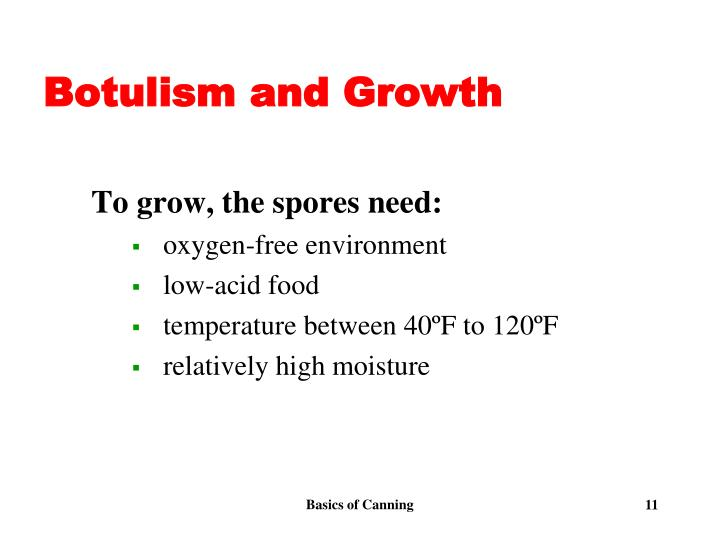 Botulism and Growth