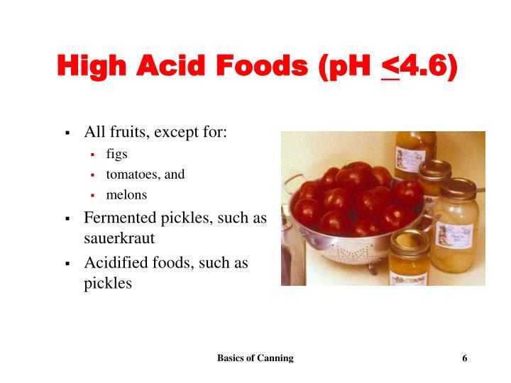 High Acid Foods (pH